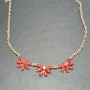 Charming Charlie gold tone and burgundy necklace